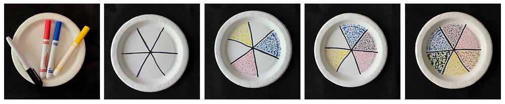 Series of 5 images showing how to mix colors with markers on a paper plate.