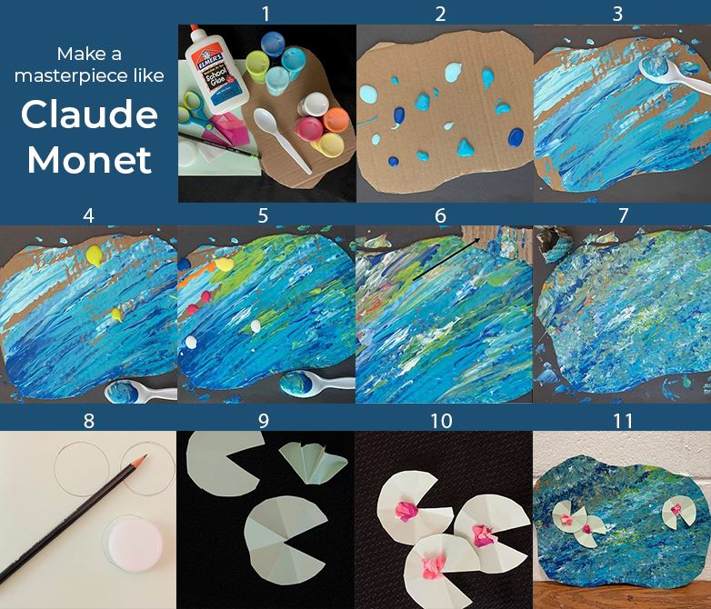 Make a masterpiece like Claude Monet. Series of images showing the process of crafting a painting li