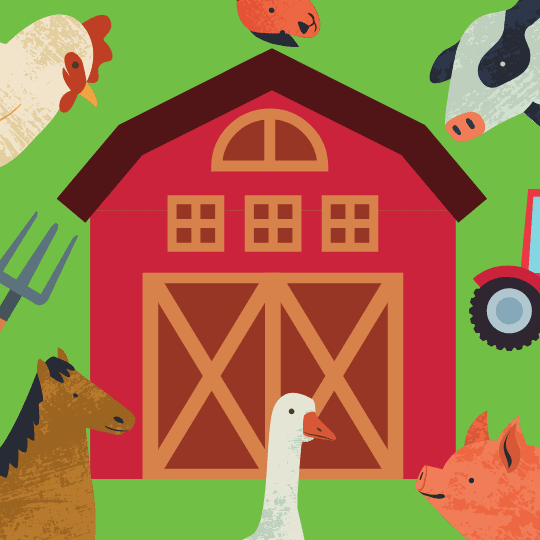 cartoon image of farm with barn and animals